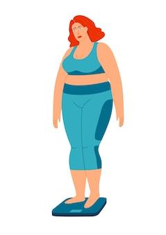 はかりの上に立っている女の子の色ベクトルイラスト。太った悲しい女の子は体重を減らしたいと思っています。白い背景から分離されたスポーツユニフォームの太った女の子。
