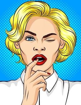 팝 아트 스타일 소녀 윙크의 색 벡터 일러스트 레이 션. 붉은 입술을 가진 아름 다운 금발이 flirts. 열린 입에 손가락을 가진 소녀입니다. 쾌활 한 분위기에서 젊은 매력적인 여자