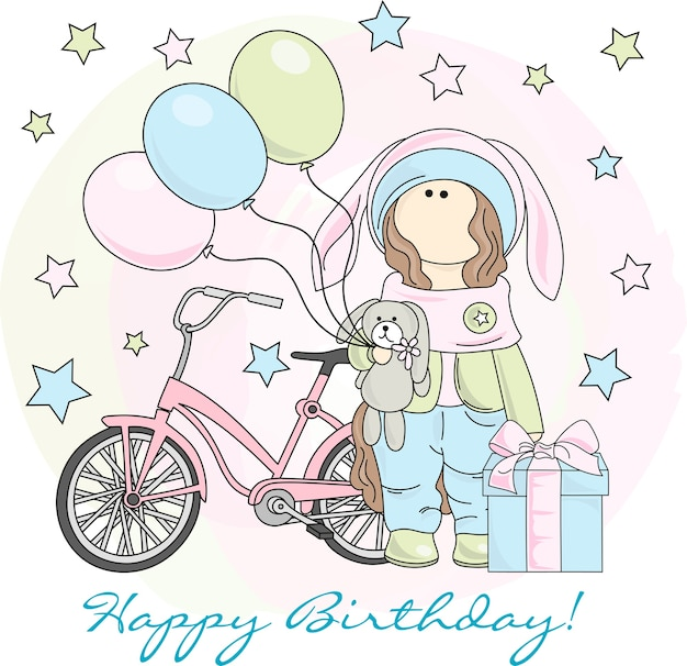 Color vector illustration set happy birthday