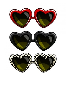 Color vector illustration set of vintage sunglasses. glasses in a frame in the form of heart. sunglasses of different colors, isolated