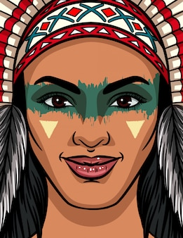 Color vector illustration of a woman face from an indian tribe. bright face makeup and traditional headdress on an indian woman.