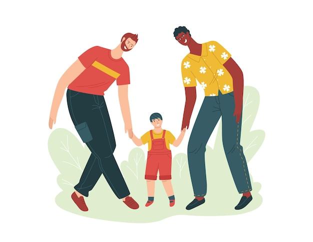養子縁組についての色ベクトル分離イラスト