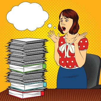 Color vector pop art comic style illustration of a girl in the office. the girl at the desk. busy woman doing office work. worker with a lot of documents on the table. women's stressful face