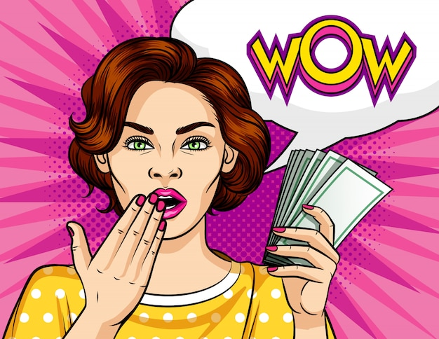 Color vector pop art style illustration. the a girl with a wad of money.