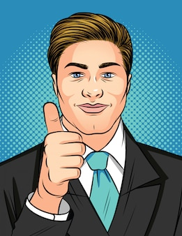 Color vector pop art style illustration of a man showing a like sign. young attractive businessman holds thumb up. man in business suit shows sign of approval