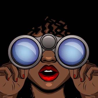 双眼鏡で見ているアフリカ系アメリカ人の女の子の色ベクトルポップアートスタイルのイラスト。女性は口を開けて顔を驚かせた。手に双眼鏡を持つ少女をクローズアップ