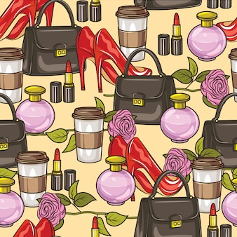 Color vector seamless pattern. women's wardrobe items. handbag, high-heeled shoes, perfume, flower, lipstick and a cup of coffee.