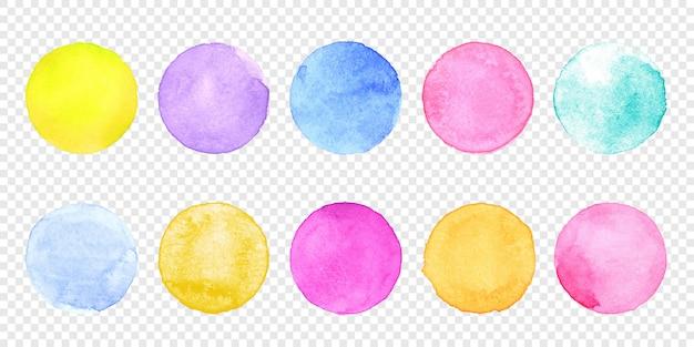 Цветной акварельный круг установлен. вектор мазок акварель всплеск пятно на прозрачном