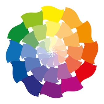 Color wheel or color circle with twelve colors