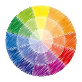 原色を示す12色のカラーホイールまたはカラーサークル