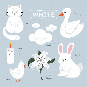 Colore bianco e vocabolario in inglese