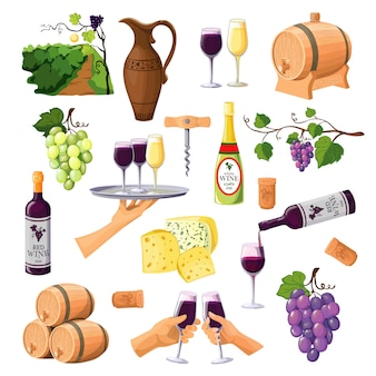Color wine icons set