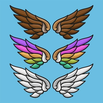 Color wing collection vector illustration