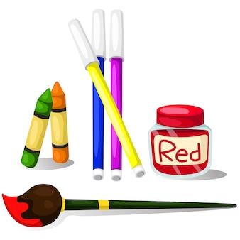 カラーマジックカラーの鉛筆のクレヨンと絵筆
