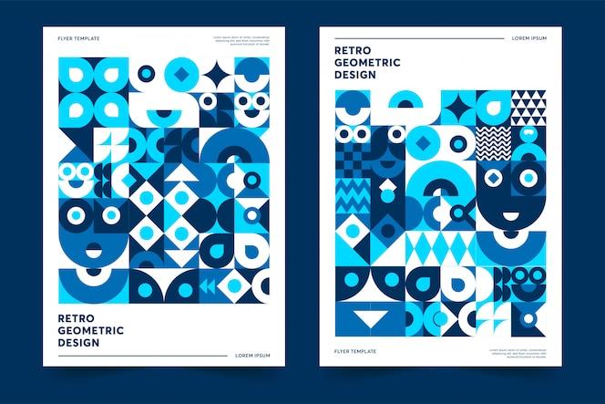 Colore del modello di poster dell'anno 2020 design geometrico retrò premium