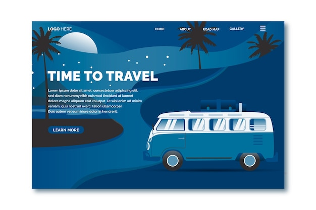 Color of the year 2020 travel landing page template