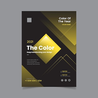 Color of the year 2021 geometric design flyer