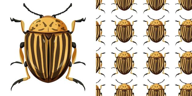 Колорадский жук насекомое и бесшовный фон