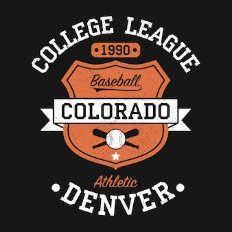 그런 지와 tshirt 원래 옷 디자인에 대 한 콜로라도 덴버 빈티지 야구 그래픽