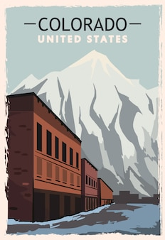 Colorado retro poster. usa colorado travel illustration. united states of america