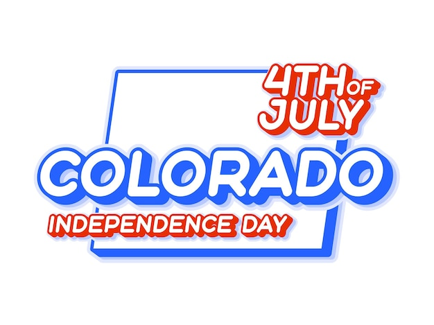 Colorado state 4th of july independence day with map and usa national color 3d shape of us