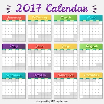 着色された2017年カレンダーテンプレート