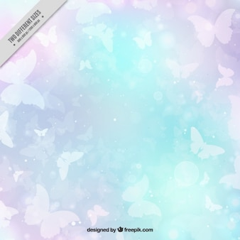 Colored abstract background of white butterflies