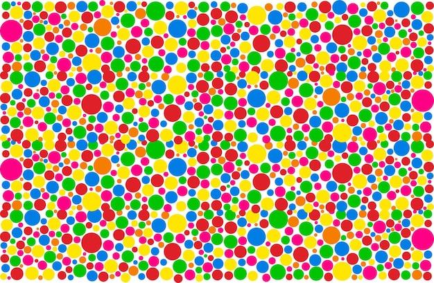 色付きの抽象的な円の幾何学模様。ベクトルイラストバブル生地の背景