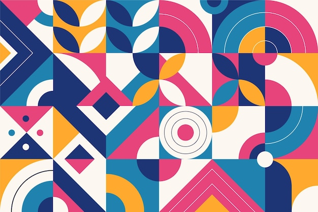 Colored abstract geometric shapes flat design