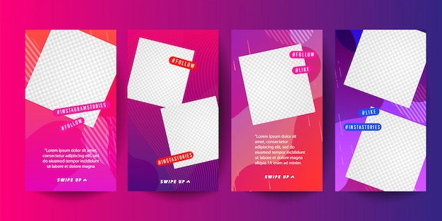 Colored abstract modern graphic banner sets for stories