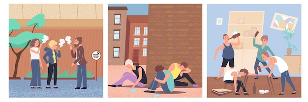Colored  addiction  flat  icon  set  with  nicotine  drugs  and  alcohol  addiction  types  illustration
