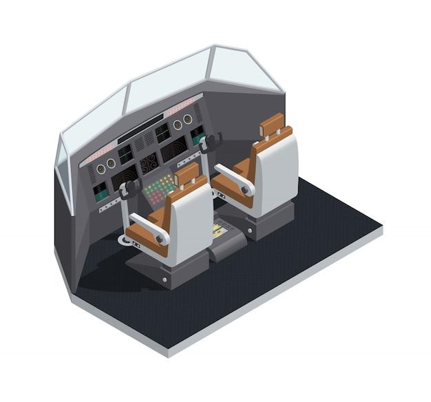 Composizione isolata 3d isometrica interna dell'aeroplano colorata con l'illustrazione di vettore di vista laterale della cabina di pilotaggio