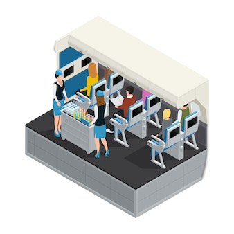 Colored airplane interior isometric composition with lunch