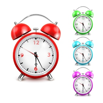 Colored alarm clock icon set