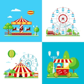 Colored amusement park composition