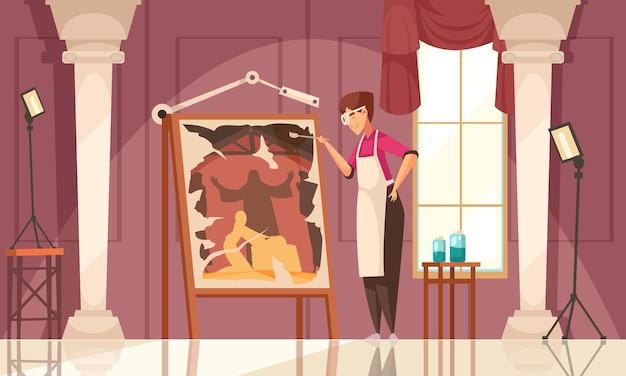 Цветной и плоский художник-реставратор живописная композиция рабочий процесс творческой личности