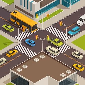 Цветные и изолированные города изометрии композиция с дороги и пешеходного перехода в центре города векторная иллюстрация