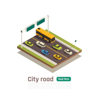 Цветные и изометрические город состав баннер с заголовком городской дороги и читать больше зеленую кнопку векторная иллюстрация