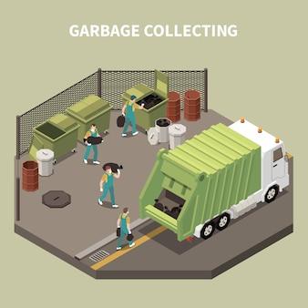 Цветная и изометрическая композиция для переработки мусора с мусоросборщиком и рабочими мусорщиками