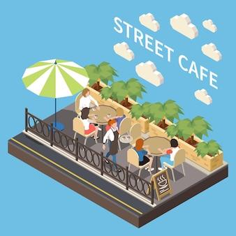 야외 좌석 공간이 있는 컬러 및 아이소메트릭 거리 카페 테라스 구성 레스토랑