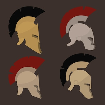 Colored antique  roman or greek helmets for head protection soldiers with a crest of feathers or horsehair with slits for the eyes and mouth, vector illustration