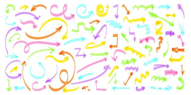 色aroow手描きの線セット。スケッチカーブ落書き左右右下方向標識コレクション