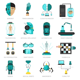 Colored artificial intelligence icon set