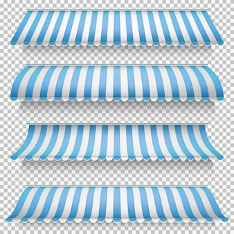 Colored awnings set.