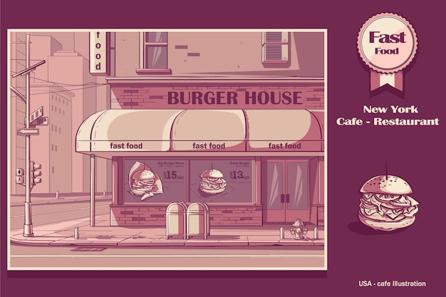 Colored background burger house in new york, usa.