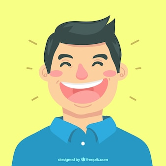 Colored background of man laughing