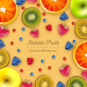 現実的なデザインのフルーツの色の背景