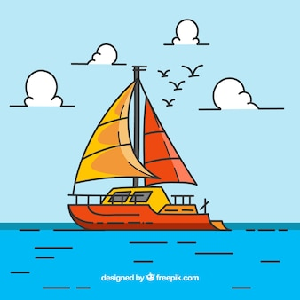 Colored background with boat and birds in flat design