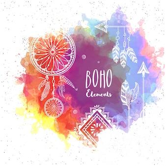 Цветной фон с boho элементами