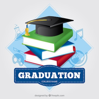 Colored background with books and graduation cap
